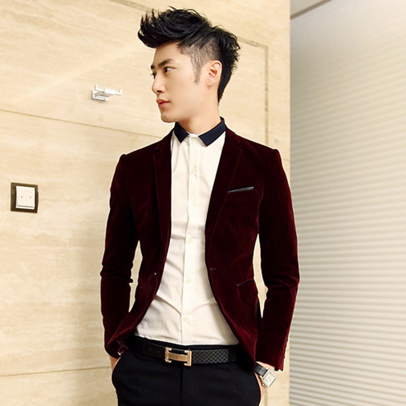 Men's Velvet Blazer 2016 New Arrival Casual Slim Fit Mens Suits ...