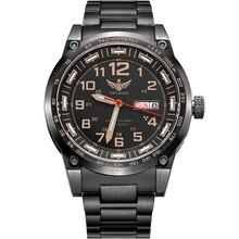 YELANG V1015 atualização versão cáqui número gás trítio luminosa azul homens de negócios mecânico automático relógio-pulseira de aço