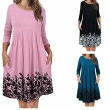 Maternity dress 2018 Round Neck Easy Pocket Printing Dress Pregnancy Women Clothing Long Sleeve Pregnant Woman