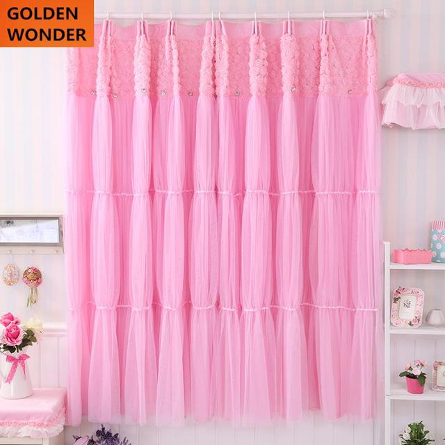 2016 New Arrival Curtains Cortinas Lace Pink Blue Curtains For ...