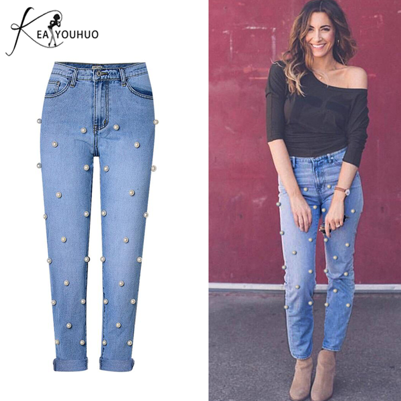 New Summer 2018 Mom Jeans Woman With High Waist Denim Pantalon Femme Boyfriend Jeans For Women Female Pearl Jeans Pants Trousers