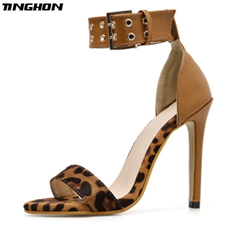 TINGHON Women Fashion Summer Sandals Leopard Open toe heels Buckle Strap Wedding Pumps Party Shoes