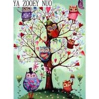YA ZOOEY NUO Home Decor Diy Diamond Painting Cross Stitch Tree Owl Diamond Embroidery Crystal Round