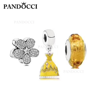 PANDOCCI 100% 925 Sterling Silver Daisy Charm Princess Dress Charm Golden Cut Glass Beads Set Suitable DIY Bracelet