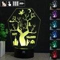 Noite da árvore 3D Humor Lâmpada Night Light RGB Mutável LED decorativo candeeiro de mesa de luz dc 5 v usb obter um free controle remoto