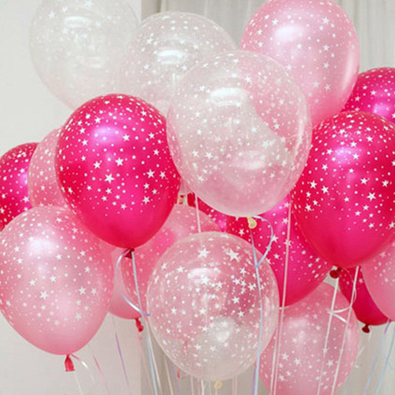 30 pcs blue pink clear Five star printed pearl latex helium balloon 12Inch 3.2g wedding Birthday Party Decorative kids Toys