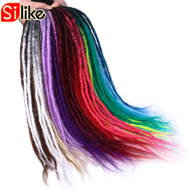 Silike Ombre Crochet Braids Hair 24 inch Synthetic Handmade Dreadlocks 25 Colors Available synthetic Hair Extensions