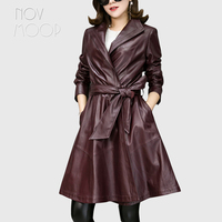 Plus size wine red pink genuine leather trench coat para mulheres Long real lambskin leather outwear adjustable waist LT1900