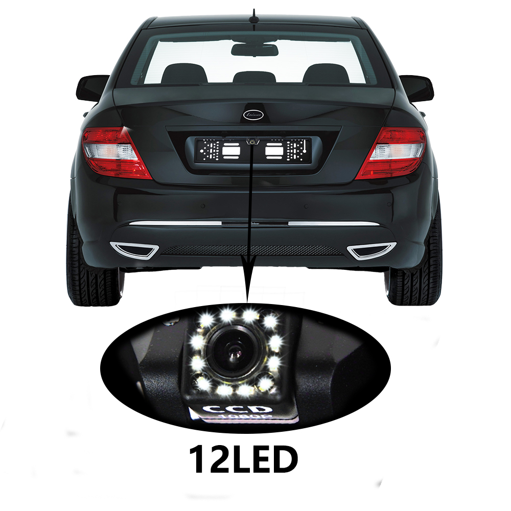 2019 New Arrival 170 European Car License Plate Frame Auto Reverse Rear View Backup Camera 12 LED Universal CCD Night Vision