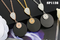 free shipping lierzika stainless steel new model full stone clay black ceramics necklace