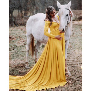Image 2 - Đuôi Dài Đồ Váy Đầm Cho Buổi Chụp Hình Cho Mẹ Đạo Cụ Chụp Ảnh Đầm Maxi Cho Phụ Nữ Mang Thai Quần Áo Mang Thai Đầm