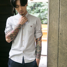 2017 Hot Sale Direct Selling Casual Shirts Mandarin Collar Short Sleeved Shirt Mens Summer Youth Linen And Thin Cultivation.