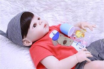 DollMai Marke Bebe Junge Reborn Puppen Volle Silikon Vinyl Körper Reborn Baby Boy Puppe Mit Schnuller Flasche Kinder Puppe Geschenk