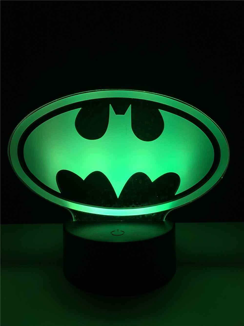 Cool Marvel Batman Logo Bat Lamp Night Light Multicolor Bedroom Decorative Usb Led Table Lighting