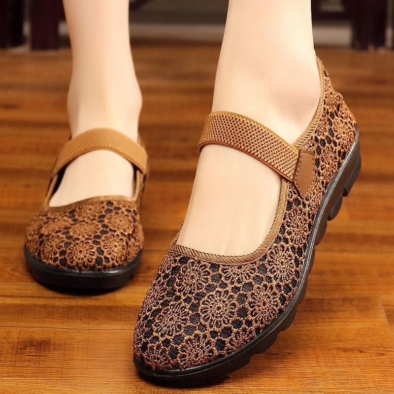 LuxuryBrand Ladies Shoes 2018 Summer Comfort, Breathable And Light Grandma Shoes Fashionable Retro Elegant Ladies Shoes