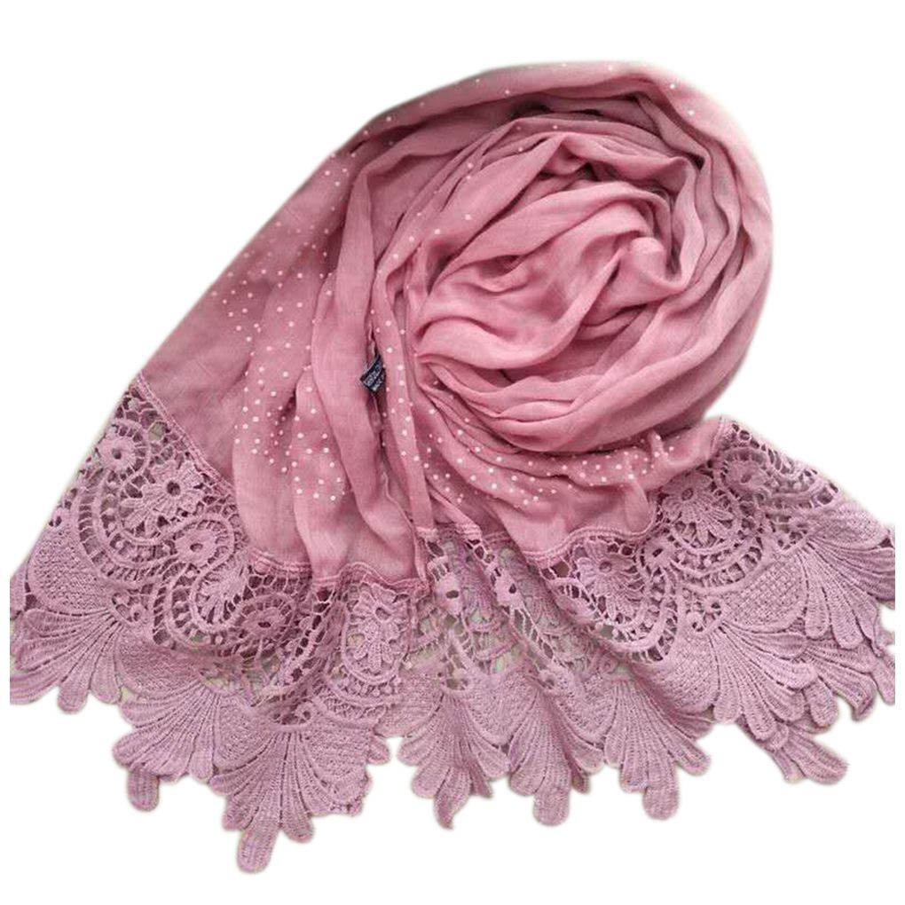 Lace Floral Edge Tassel Women Girl Swallow Tail   Scarf   Hijab   Wrap   Cotton Solid Color Autumn Winter   Scarves   Shawls for Ladies