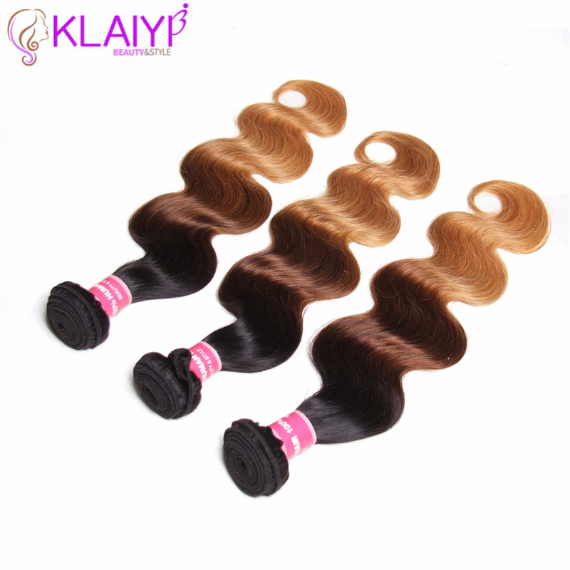 KLAIYI Hair Pre Colored Ombre Hair Weave 3 Bundles Peruvian Body Wave 100 Human Hair Bundles