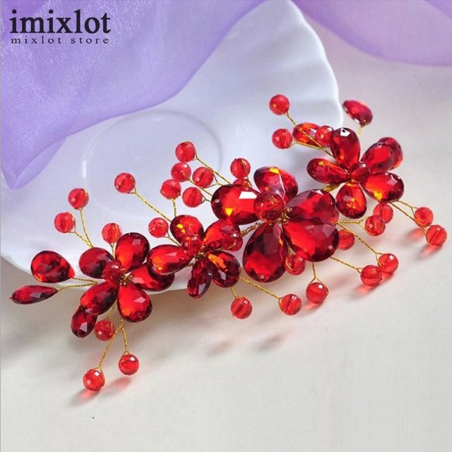 Hot Sale Red Flower Crystal Bridal Hair Accessories Bridal Hair Clip Hairpin Tiara Wedding Hair Accessories Hair Jewelry