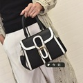 2017 New Hot Fashion Women Female Korean Style Simple Casual Hasp Flap Bag Black and White Handbags Shoulder Bags Messenger Bag