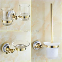 Gold Color Brass Material Bathroom Accessories Tumbler Holder Soap Dishes And Toilet Brush Holder X16131 3