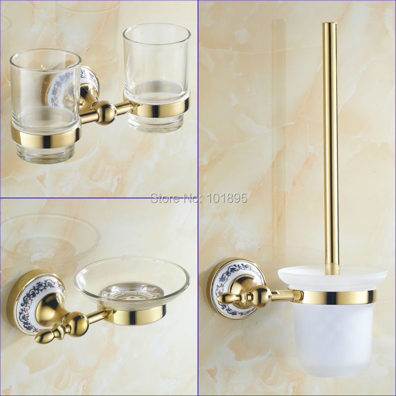 Gold color brass material bathroom accessories tumbler for Bathroom accessories shampoo holder