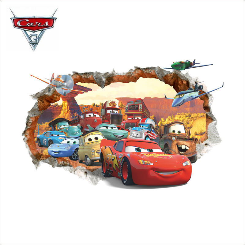 Disney Pixar Car 3 Lightning McQueen3D Stereo Sticker Mural PVC Waterproof Self-adhesive Bedroom Decoration Toy Children Gift free shipping marble texture parquet flooring 3d floor home decoration self adhesive mural baby room bedroom wallpaper mural
