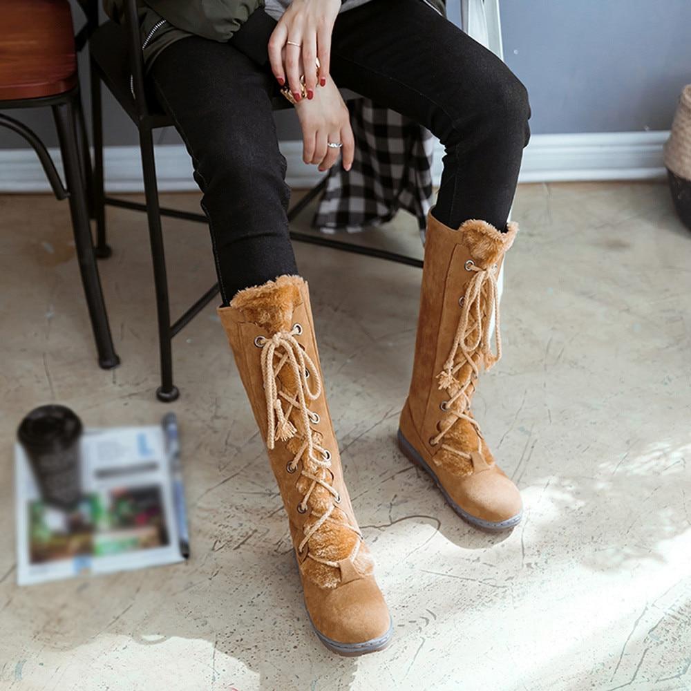 Botas Mujeres Casco Las Tubo Redondo Caliente Mantener khaki Zapatos Encaje Arranque Mujer Pie Nieve Del Planos De Dedo Youyedian marrón Negro Gamuza P30 Medio Tacón Rqd4x5RwP