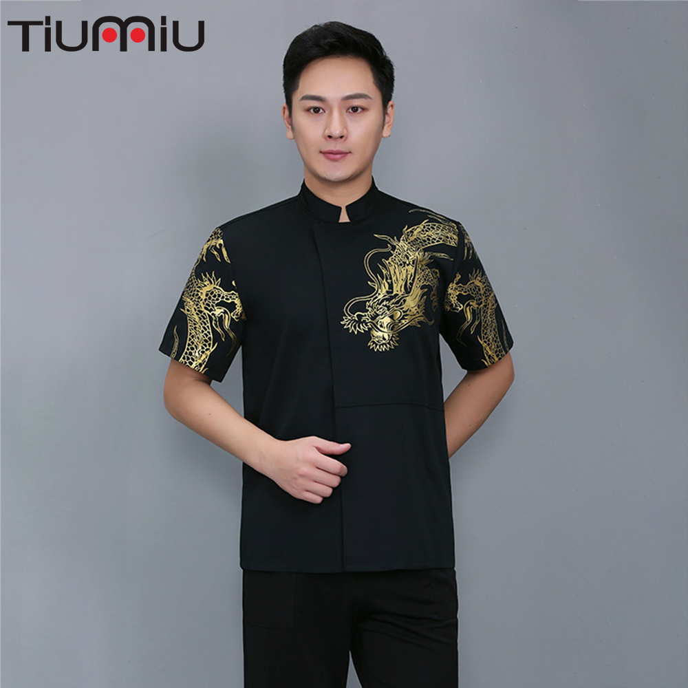 Printing Dragon Pattern Chef Uniform Cook Jacket Kitchen Barbershop Pub Buffet Bar Bakery Cake Food Service Hotel Work Overalls