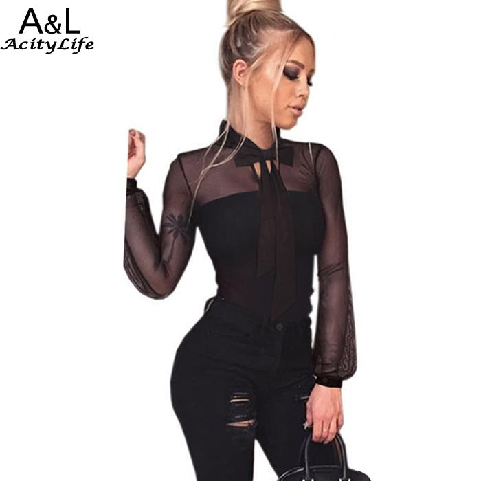 Body Casual Black Transparent Long Sleeve Bow Women Black Mesh Bodysuit