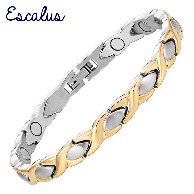 все цены на Escalus 2018 Classic Cross Magnetic Bracelet For Women Healing Stainless Steel Gold Color Charm Bracelet Fashion Gift Jewelry