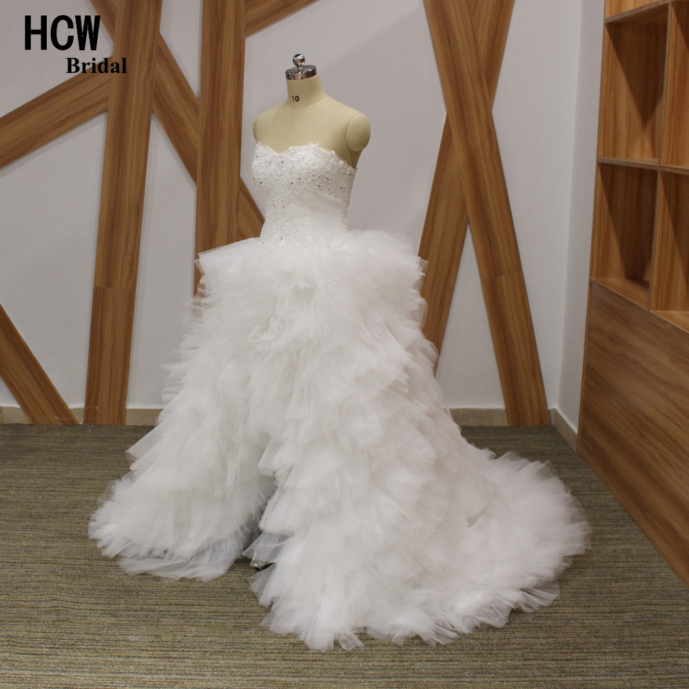 New design puffy tulle ruffles high low wedding dress for Tulle high low wedding dress