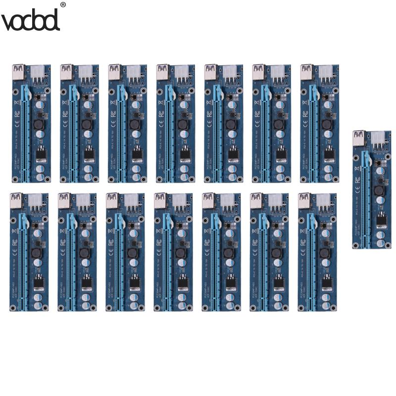 15pcs USB 3.0 PCI-E Express 1x 4x 8x 16x Extender Riser Adapter Card SATA 15pin Male to 6pin Power Cable for Bitcoin Mining кабель orient c391 pci express video 2x4pin 6pin