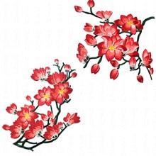 Parches con bordados de Flores Magnolia Para Ropa, pegatinas rojas Para Parches, flor de aplique bordado