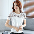 2017 Summer Embroidery t Shirt Women Tee Tops Plus Size White Lace T-shirt Chiffon Yarn Women's Clothing Slim T-shirt Spliting