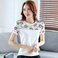 2017 bordado verão camiseta mulheres tee tops plus size clothing magro t-shirt t-shirt de renda branca chiffon de fios das mulheres spliting