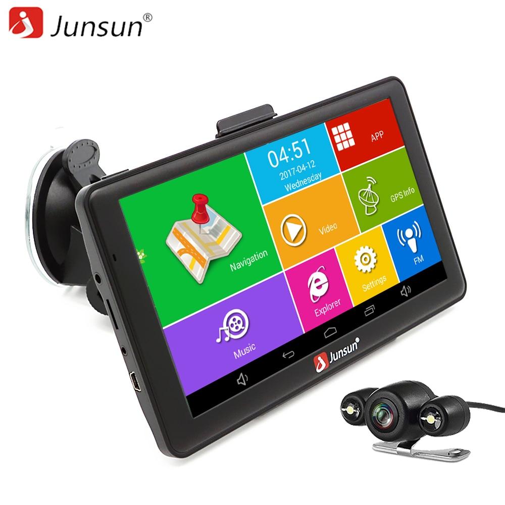 """Junsun 7 """"Android 4.4.2 Автомобильный GPS навигатор Автомобильный навигатор Bluetooth WI-FI Европа/карта России автомобиль gps емкостный"""