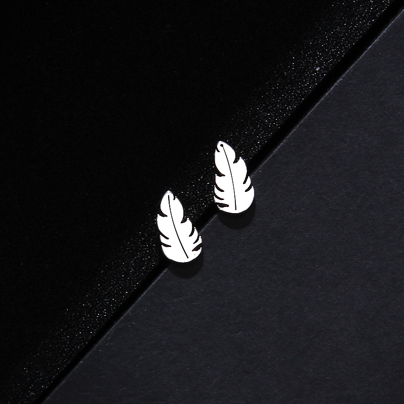 CACANA Stainless Steel Sets For Women Feather Shape Necklace Bracelet Earring Jewelry Lover's Engagement Jewelry S379 16