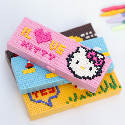 Creative DIY Building Block Pencil Box School ABS Plastic Pencil Cases For Girls/Boys