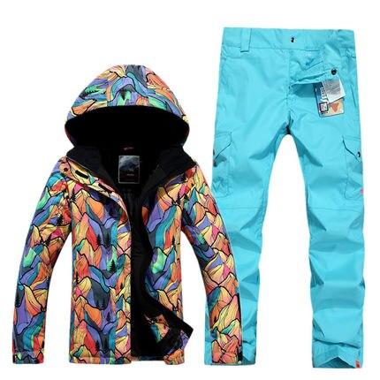 GSOU SNOW combinaison de Ski femme simple Double planche extérieur épais chaud imperméable veste de Ski + pantalon de Ski taille XS-L - 5