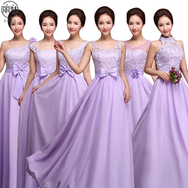 Light Purple Long   Bridesmaid     Dresses   2016 Bow Lace Chiffon Vestido De Festa De Casamento Slim Halter Wedding Party   Dress   BV31