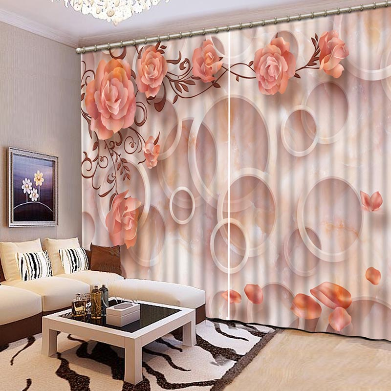 NoEnName_Null Lifelike beautiful flowers 3D Printing Curtains Beautiful Curtains full Shade Bedroom Living Room Curtains CL-033