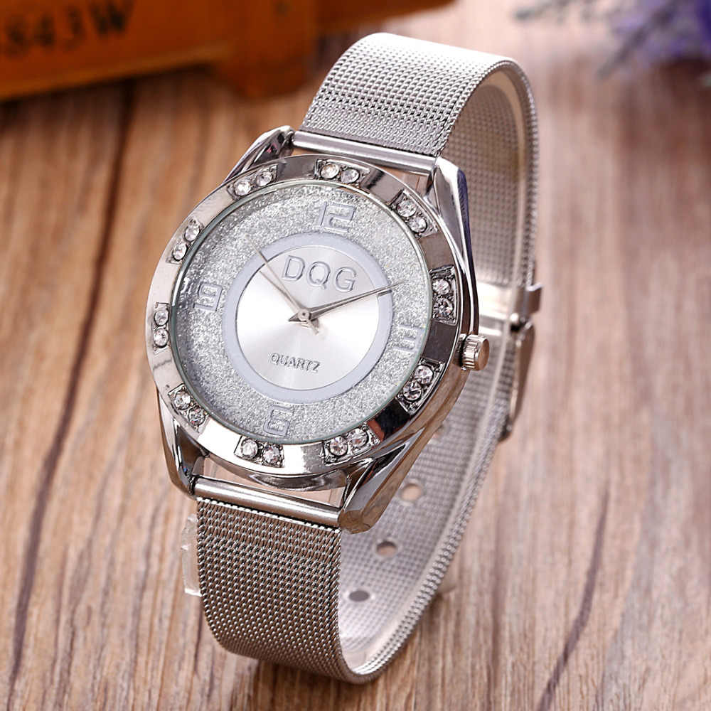 Reloj mujer marque de luxe DQG montre en métal doré maille femmes montres à Quartz nouvelle mode montres habillées en cristal pour les femmes