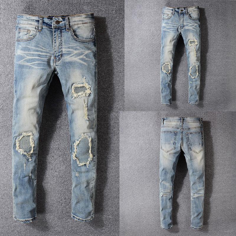 Italian Style Fashion New  Men Jeans,Blue Color High Quality Patchwork Casual Pants Slim Fit Streetwear Stretch Biker Jeans Men