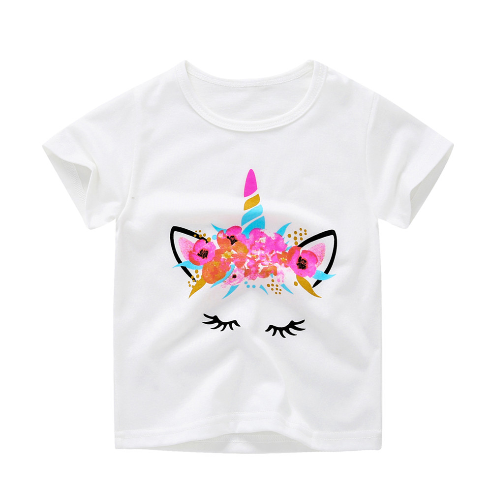 1-6Y Kids Girl T Shirt Summer Baby Boy Cotton Tops Toddler Tees Clothes Children Clothing White Unicorn T-shirts Short Sleeve(China)