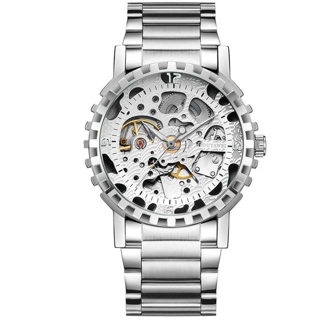 2019 OUYAWEI Watches Men Brand Luxury Mechanical Hand Wind Watch  Creative full hollow dial Men Clock Skeleton Wrist Watches