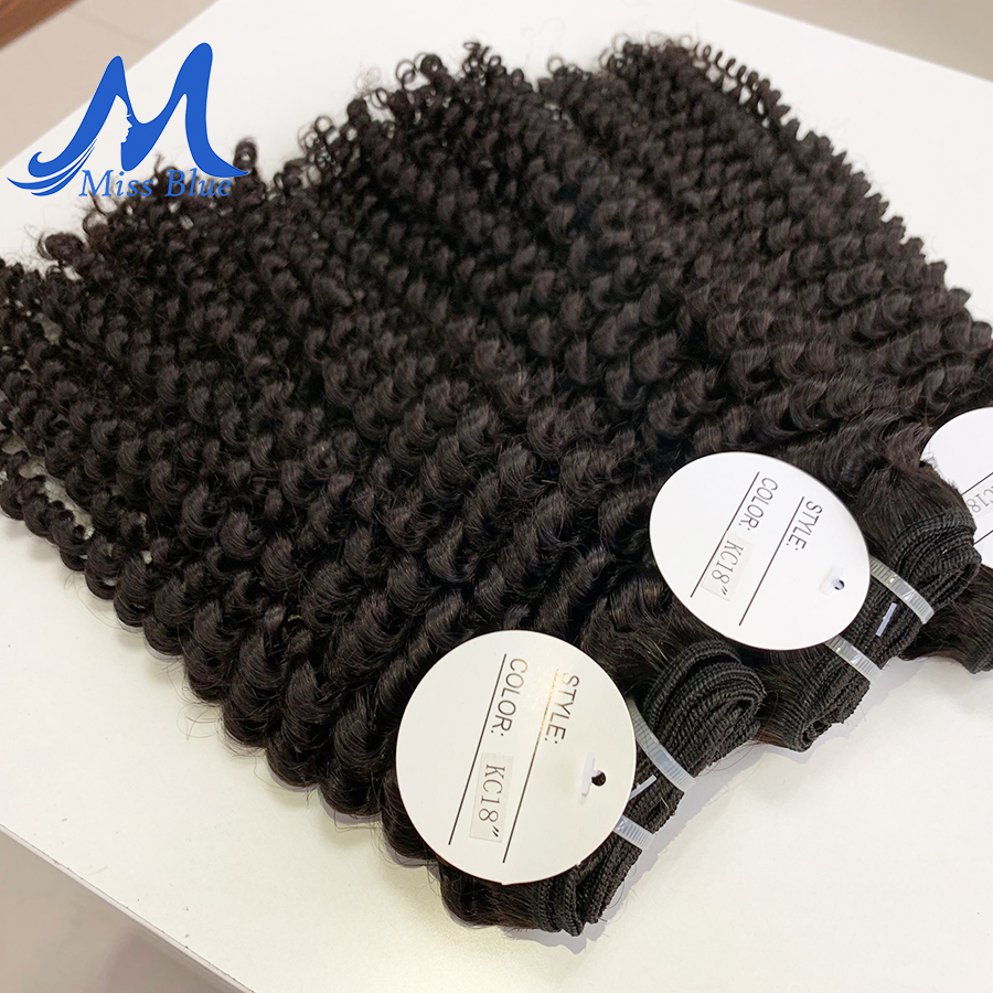 Missblue Afro Kinky Curly Virgin Hair 3 / 4 Bundles Brazilian Hair Weave Bundles 100% Remy Human Hair Extensions Natural Color 5