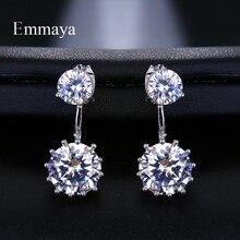 Emmaya New Zircon Crystal 2 Ways to Wear Ear Cuff Stud Earrings For Women Round Piercing Fashion Jewelry Brincos
