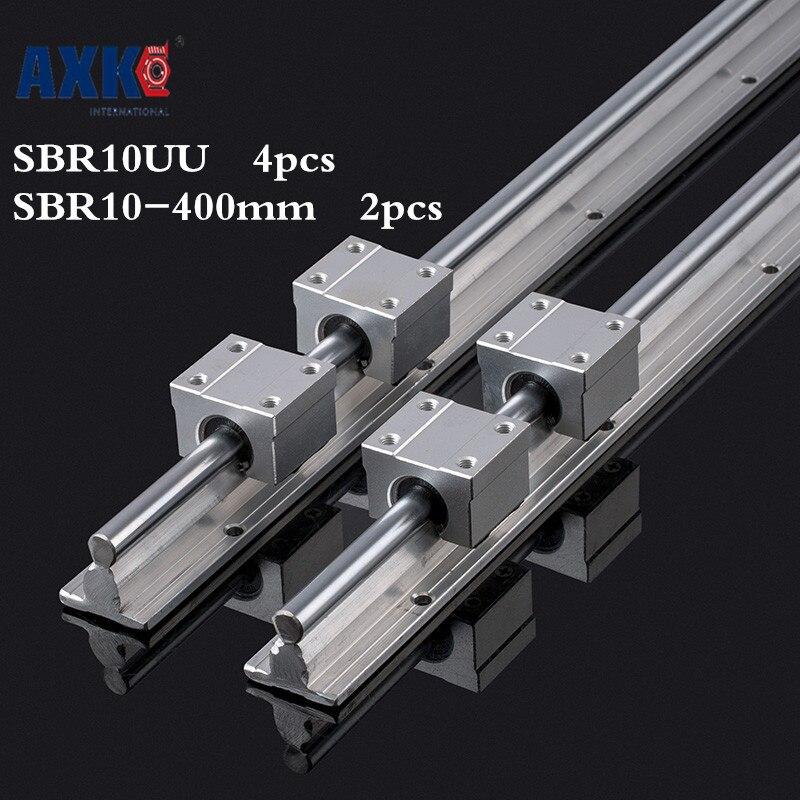 Axk 2pcs Sbr10 L 400mm Linear Rail Support With 4pcs Sbr10uu Linear Guide Auminum Bearing Sliding Block Cnc Parts roland sj 640 xj 640 l bearing rail block ssr15xw2ge 2560ly 21895161 printer parts