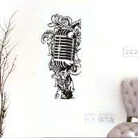 Kids Bedroom Floral Music Microphone Wall Stickers Removable Art Silhouette Wall Decals For Baby Room Home