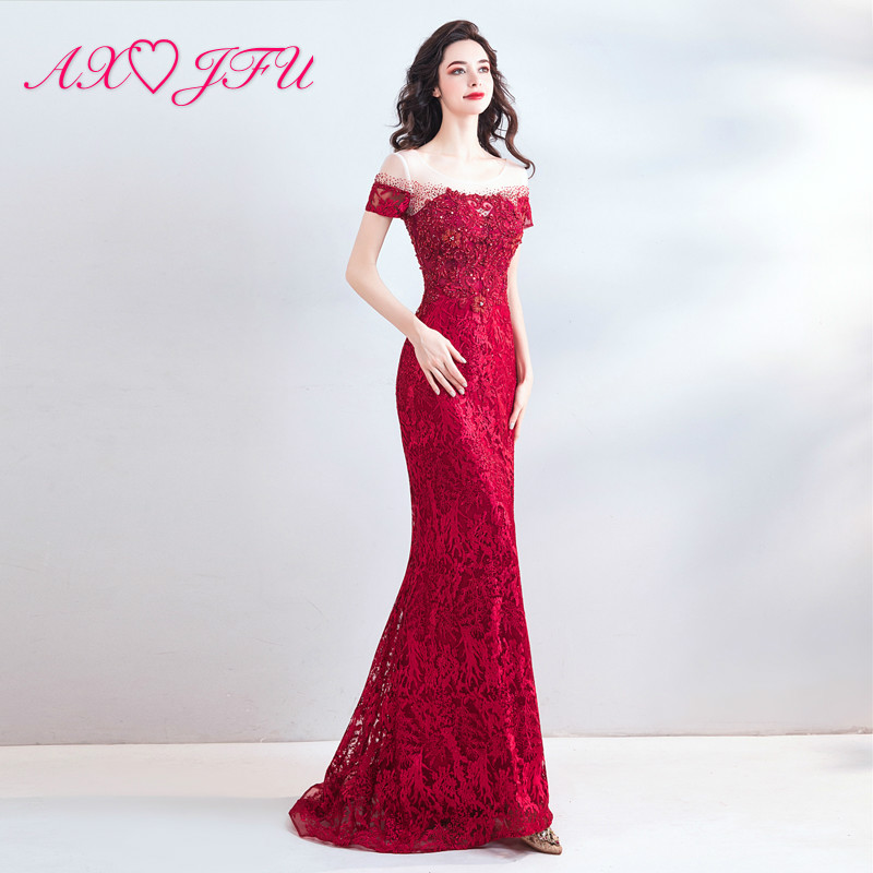 AXJFU princess red o neck mermaid   evening     dress   vintage beading crystal red lace flower trumpet   evening     dress   8028